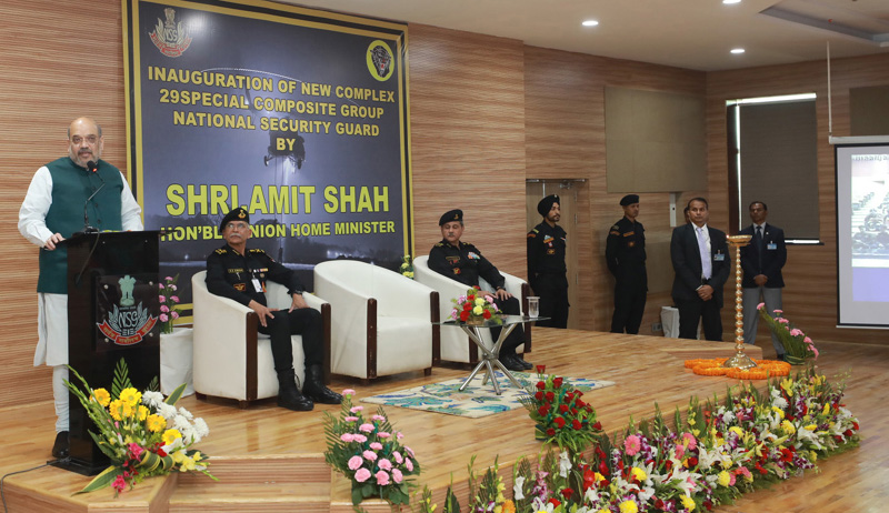 Union Home Minister, Amit Shah addressing at the inauguration of the campus of NSG Regional Hub at Kolkata on Sunday.