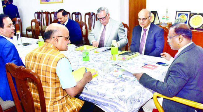 LG Girish Chandra Murmu chairing the Administrative Council meeting in Jammu on Wednesday.