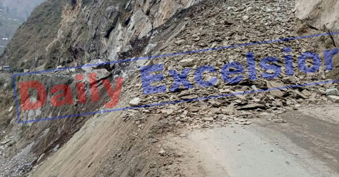 Landslide at Hingni near Ramsu in Ramban district on Saturday. -Excelsior/Parvaiz Mir