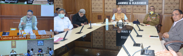 Cabinet Secretary Rajiv Gauba chairing a meeting through video conference with Chief Secretary BVR Subrahmanyam on Thursday.