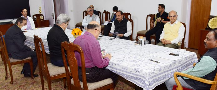 Lieutenant Governor G C Murmu chairing high level meeting on COVID-19 in Jammu on Saturday.