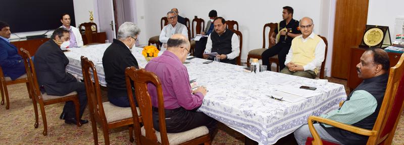 Lieutenant Governor G C Murmu chairing high level meeting on COVID-19 in Jammu on Saturday.