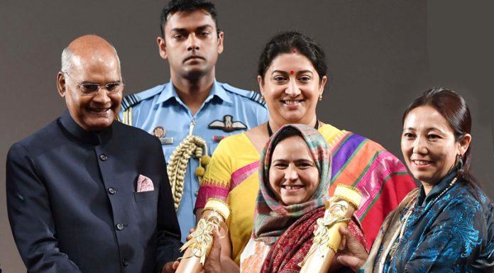 President Ram Nath Kovind giving 'Nari Shakti Puraskar' to Arifa Jan and Nilza Wangmo in New Delhi on Sunday.
