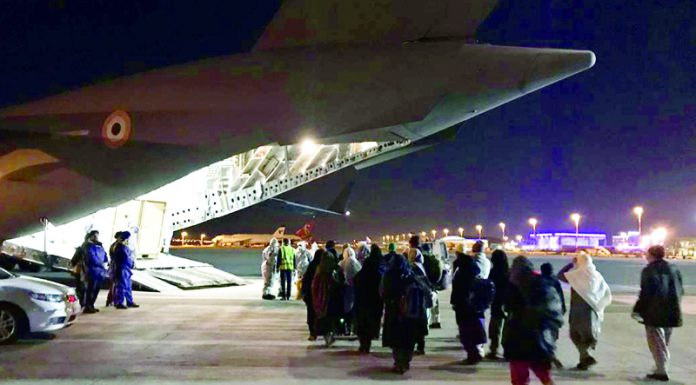 Indians brought back home in an IAF aircraft in New Delhi on Tuesday.
