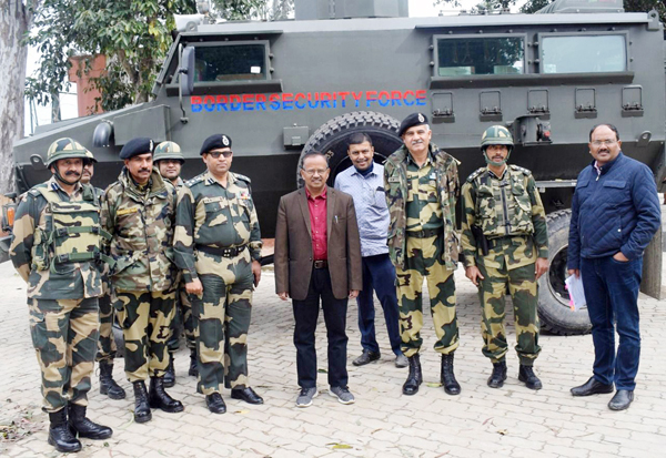 Secretary Border Management, Ministry of Home Affairs, N N Sinha with BSF officials during his visit to International Border in Jammu on Saturday. (UNI)