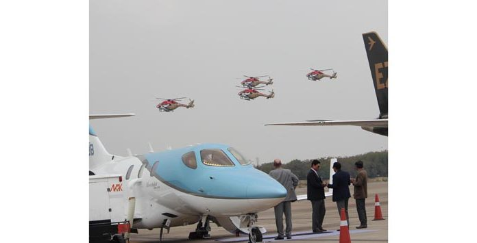 Air Force Sarang Team displays their skill during 'Wings India 2020 5th Air Show' at Begumpet Airport in Hyderabad on Thursday. (UNI)