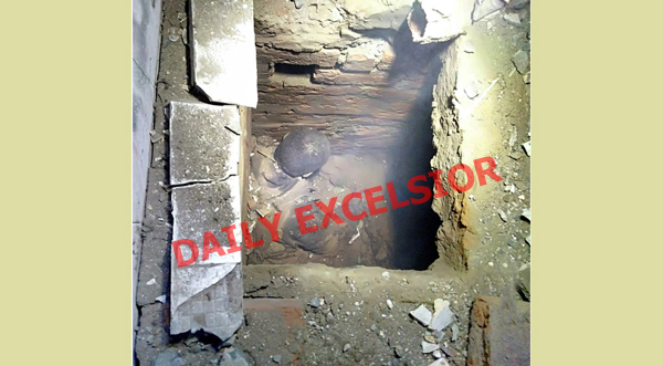 A hideout inside washroom at Watergam in Anantnag where four militants were killed on Sunday. — Excelsior Photo