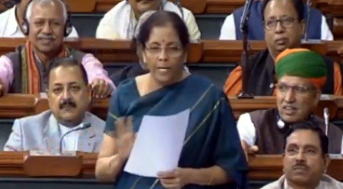 Finance Minister Nirmala Sitharaman replying to J&K budget debate in Lok Sabha on Wednesday.