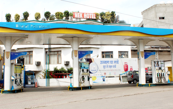 A petrol pump closed in Jammu on Thursday.