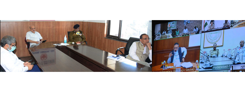 Cabinet Secretary Rajiv Gauba in video conference with J&K CS BVR Subrahmanyam.