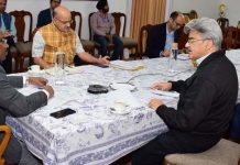 Lieutenant Governor Girish Chandra Murmu chairing a meeting on Coronavirus situation in Jammu on Monday.