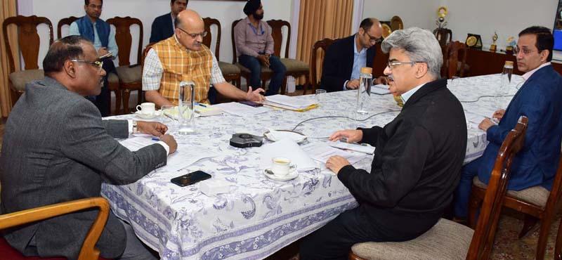 Lieutenant Governor Girish Chandra Murmu chairing a meeting on Coronavirus situation in Jammu on Monday.