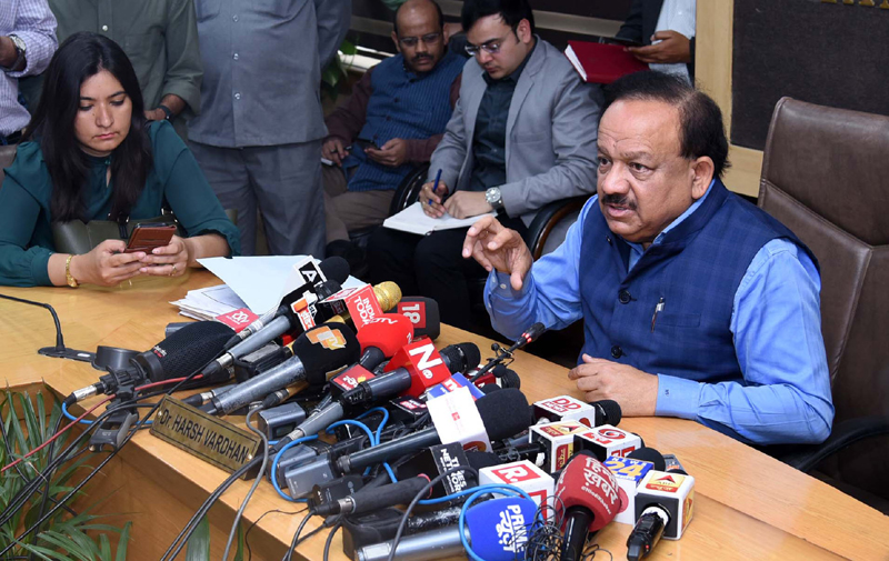 Union Minister for Health & Family Welfare, Science & Technology and Earth Sciences, Dr Harsh Vardhan addressing a press conference on the updates and preparedness and Novel Coronovirus (COVID-19), in New Delhi on Wednesday.