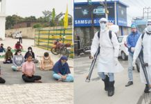 Quarantined people attending yoga session in one of the centres in Kathua district of Jammu region (left) and SMC workers sanitise an area in Srinagar where two positive cases of Coronavirus were detected (right). -Excelsior pics by Madan Magotra and Shakeel.