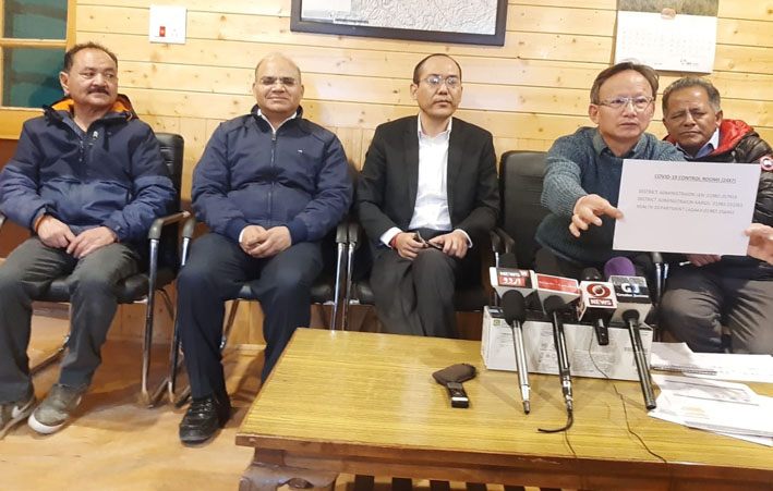 Commissioner Secretary, Health & Medical Education, Ladakh UT, Rigzin Sampheal along with CMO Leh, Dr Motup Dorjey and others during a press conference at CMO office, Leh on Saturday. —Excelsior/Morup Stanzin