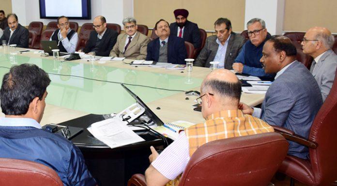 Lieutenant Governor Girish Chandra Murmu chairing a meeting to review Coronavirus preparedness in Jammu on Saturday.