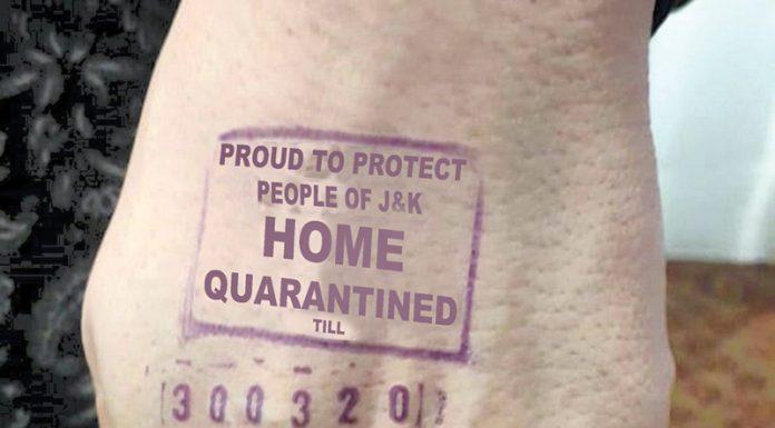 Sample of Home Quarantine stamp prepared by Health Department.