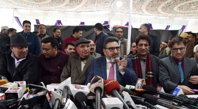Former Minister Altaf Bukhari at the launch of political party in Srinagar on Sunday. — Excelsior/Shakeel