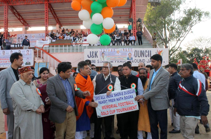 Advisor Farooq Khan and BJP president, Ravinder Raina along with other dignitaries inaugurating the third edition of Pt Prem Nath Memorial Football Gold Cup Tournament.