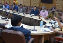 Chief Secretary BVR Subrahmanyam chairing a meeting at Jammu on Wednesday.