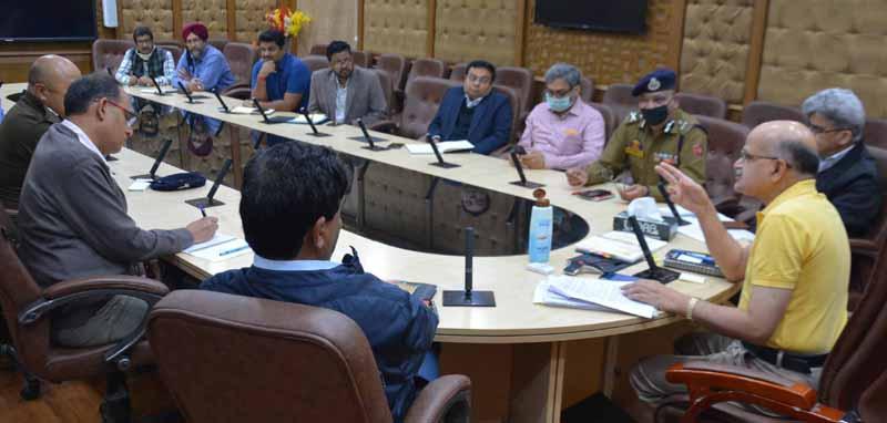 Chief Secretary BVR Subrahmanyam chairing a meeting at Jammu on Wednesday.