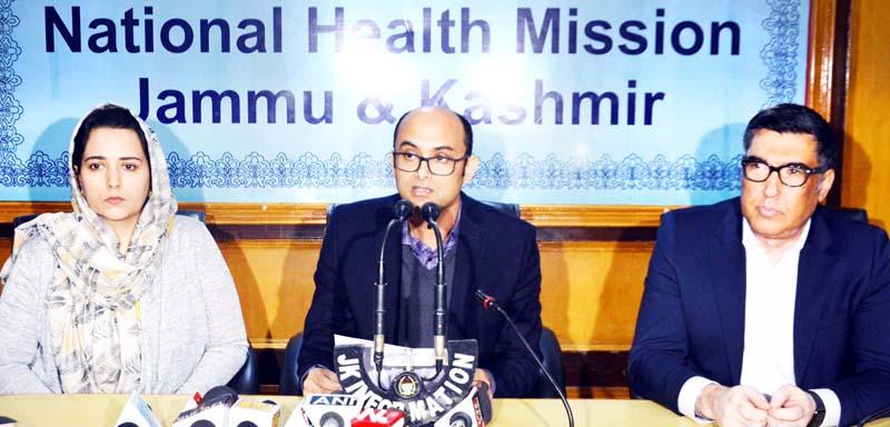 NHM Director Bhupinder Kumar addressing press conference.