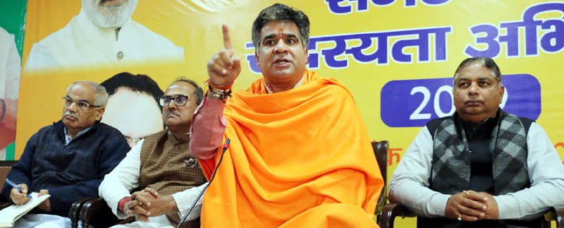 BJP State president, Ravinder Raina addressing a meeting of party office bearers at Jammu on Saturday.