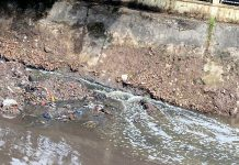 Sewage water being released by UEED through a pipe in Ranbir Canal near IIIM Jammu.
