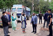 Lieutenant Governor Girish Chandra Murmu inspecting development works in Jammu on Saturday.