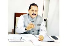 Union Minister Dr Jitendra Singh briefing about the Air Cargo facility for Jammu & Kashmir and Ladakh, at New Delhi on Monday.