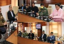 DGP Dilbag Singh chairing a meeting of officers on Tuesday.