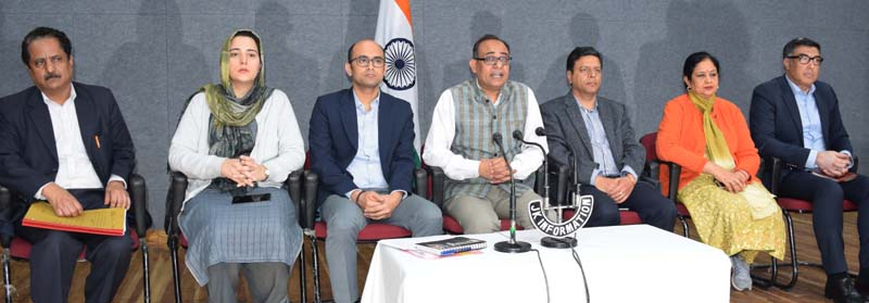 Principal Secretary, Planning and Information Rohit Kansal addressing a press conference at Jammu on Tuesday. —Excelsior/Rakesh