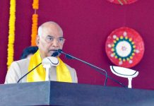 President Ram Nath Kovind addressing a gathering during the convocation of Guru Ghasidas Vishwavidyalaya at Bilaspur in Chattisgarh on Monday. (UNI)