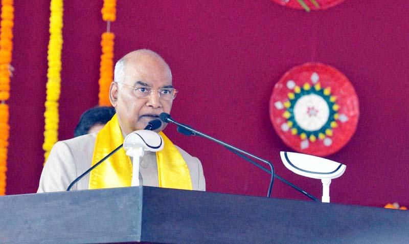 President Ram Nath Kovind addressing a gathering during the convocation of Guru Ghasidas Vishwavidyalaya at Bilaspur in Chattisgarh on Monday. (UNI)