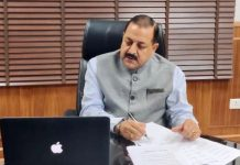 Union Minister Dr Jitendra Singh interacting on-line through video conference with officials of DoPT, at New Delhi on Saturday.
