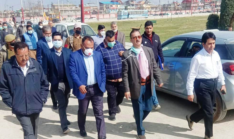 Divisional Commissioner Kashmir P K Pole during visit to SKIMS Hospital at Bemina on Monday.