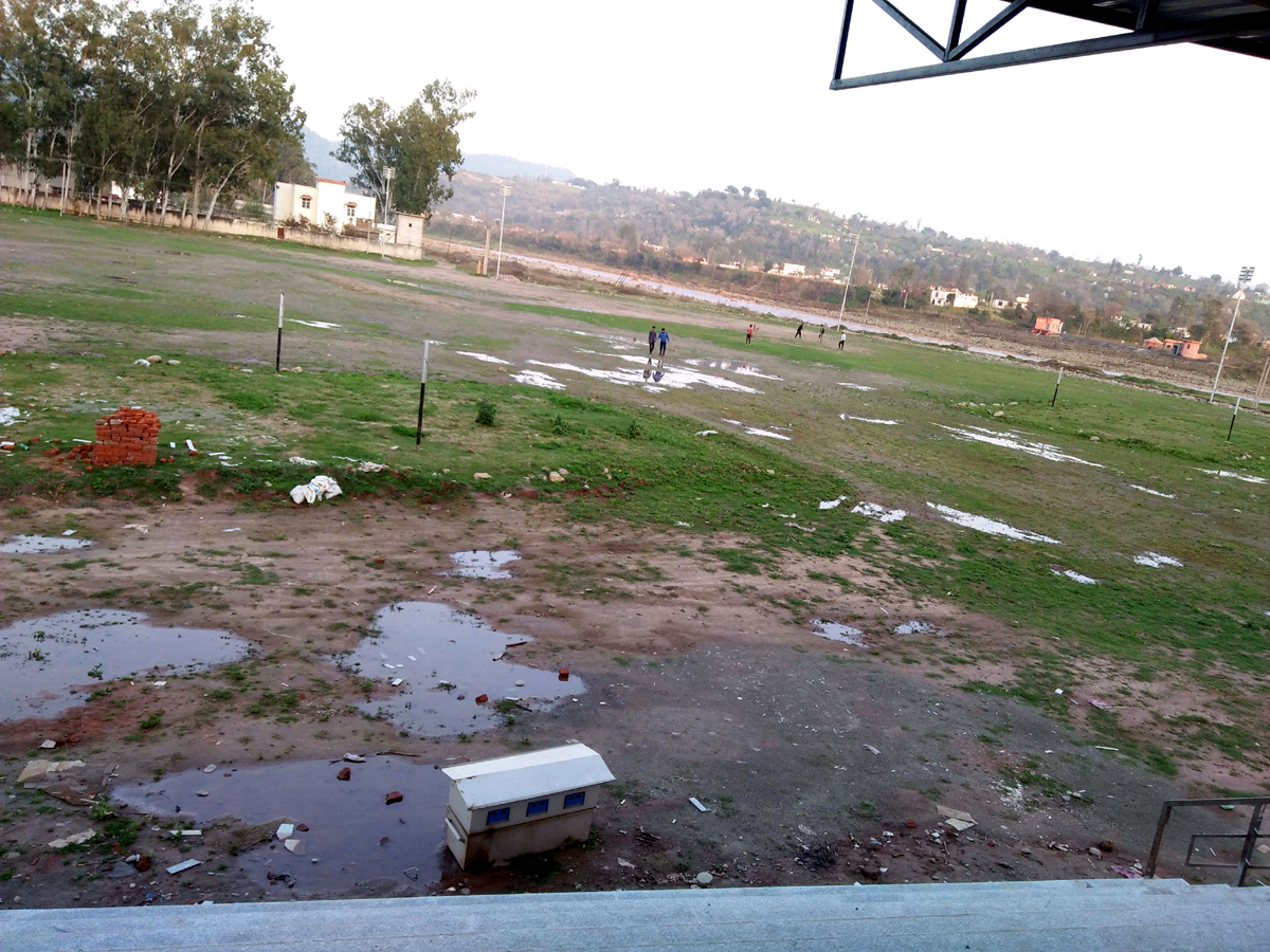 A view of incomplete Nowshera Sports Stadium.