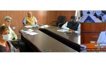 Cabinet Secretary Rajiv Gauba interacting with the Chief Secretaries through video conferencing on Sunday.