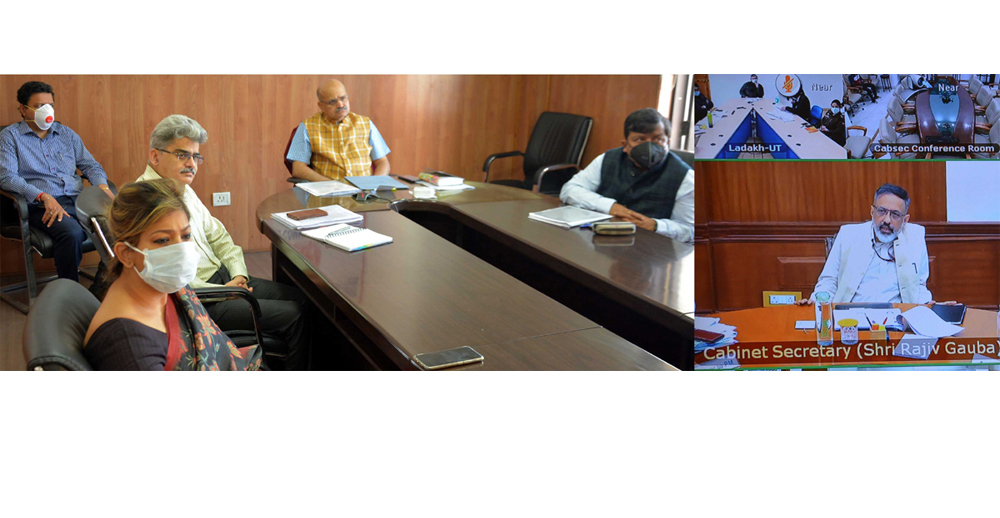 Cabinet Secretary Rajiv Gauba interacting with the Chief Secretaries through video conferencing on Sunday.