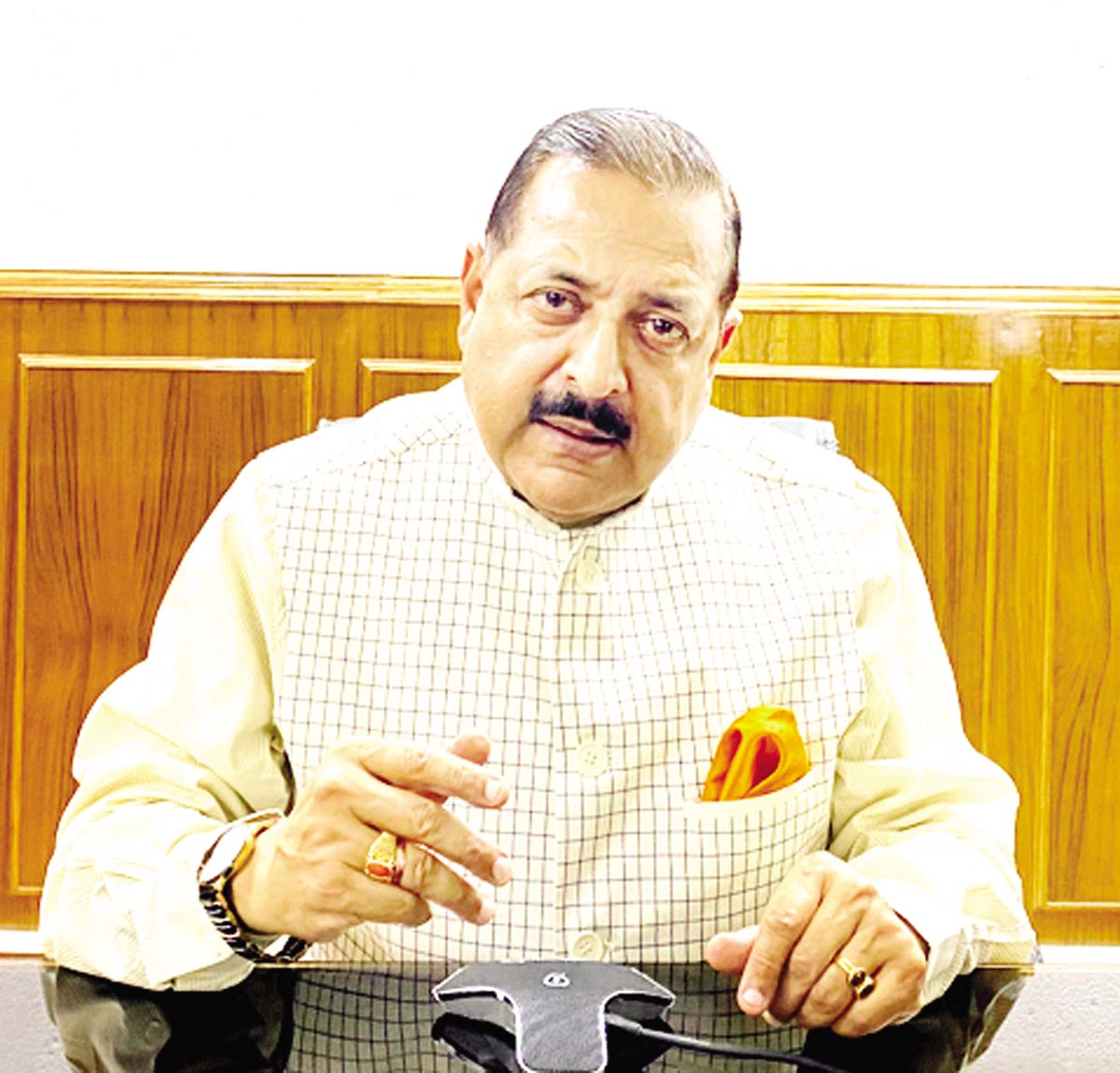Union Minister Dr Jitendra Singh briefing about the supply of essential items and medical equipment to the North Eastern States, at New Delhi on Sunday.