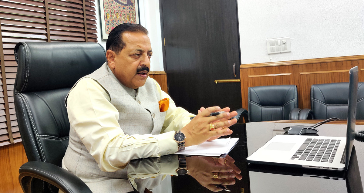 Union Minister Dr Jitendra Singh holding a Video Conference meeting with Heads of CSIR laboratories from across the country, led by Director General CSIR Dr Shekhar C. Mande, from New Delhi on Friday.