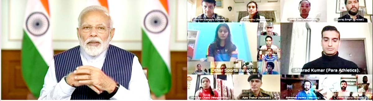 Prime Minister Narendra Modi during his meeting with 40 top sportspersons from various sports categories via video conferencing.