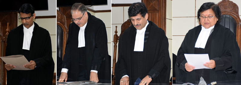 Chief Justice Gita Mittal administering oath of office to three newly appointed Judges of J&K High Court on Tuesday.
