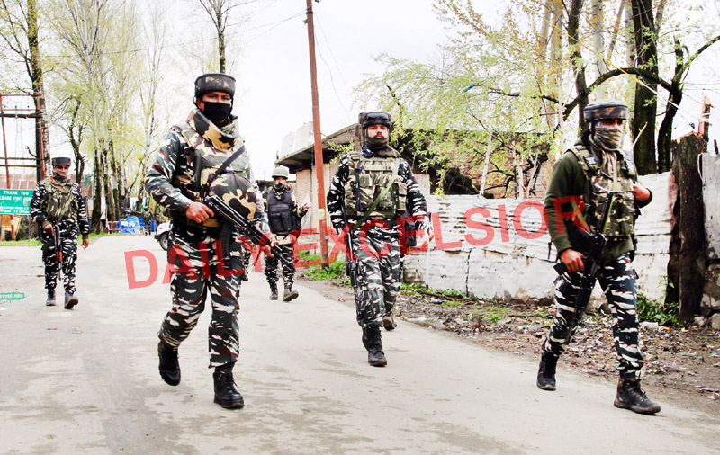 Troops during encounter in Baramulla on Wednesday. -Excelsior/ Aabid Nabi
