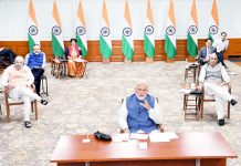 Prime Minister Narendra Modi interacting with the Chief Ministers of States via video conferencing to discuss measures to combat COVID-19, in New Delhi on Thursday.
