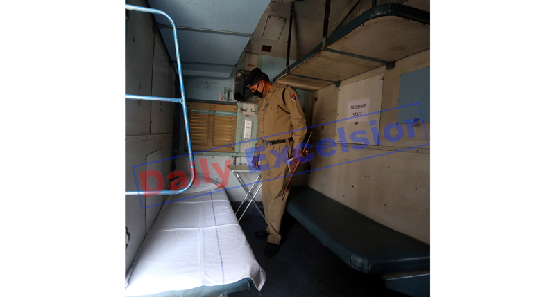 A Railways cabin converted into an isolation ward in Jammu on Tuesday. -Excelsior/Rakesh