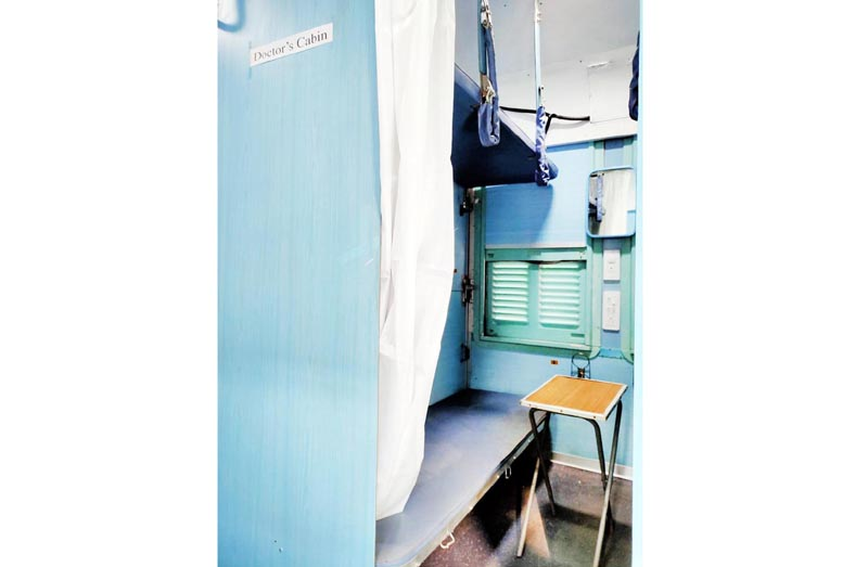 An inside view of isolation cabin in a coach at Jammu Railway Station.