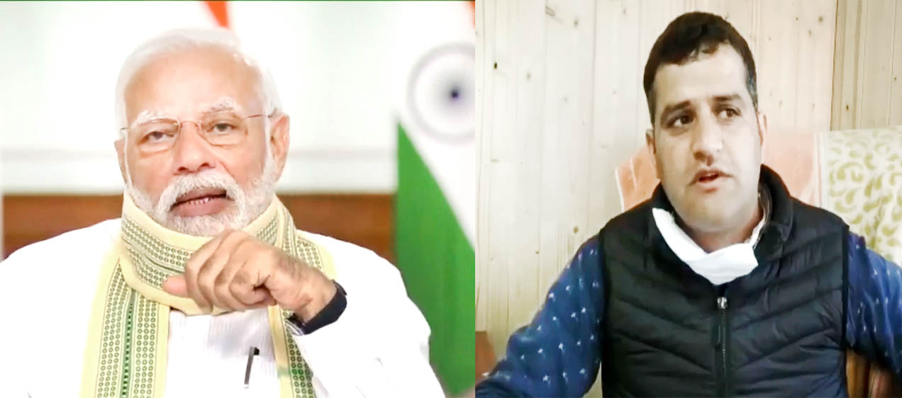 Prime Minister Narendra Modi interacting with Mohammad Iqbal, BDC chairman of Narwav block in Baramulla district of Kashmir on Friday.