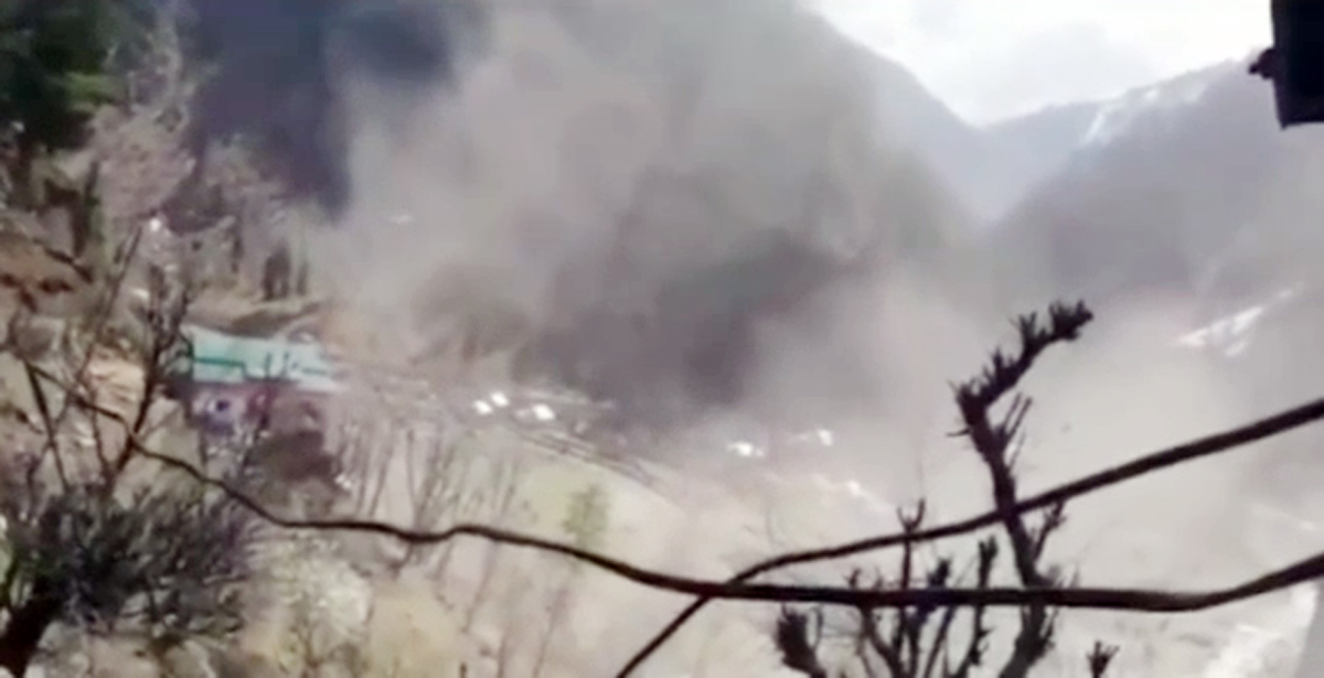 Smoke billows out of a Pakistan army installation destroyed in Indian retaliation across Keran sector on Friday.
