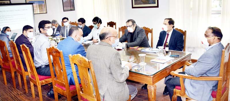 Lieutenant Governor GC Murmu presiding over a meeting on Coronavirus in Srinagar on Thursday.